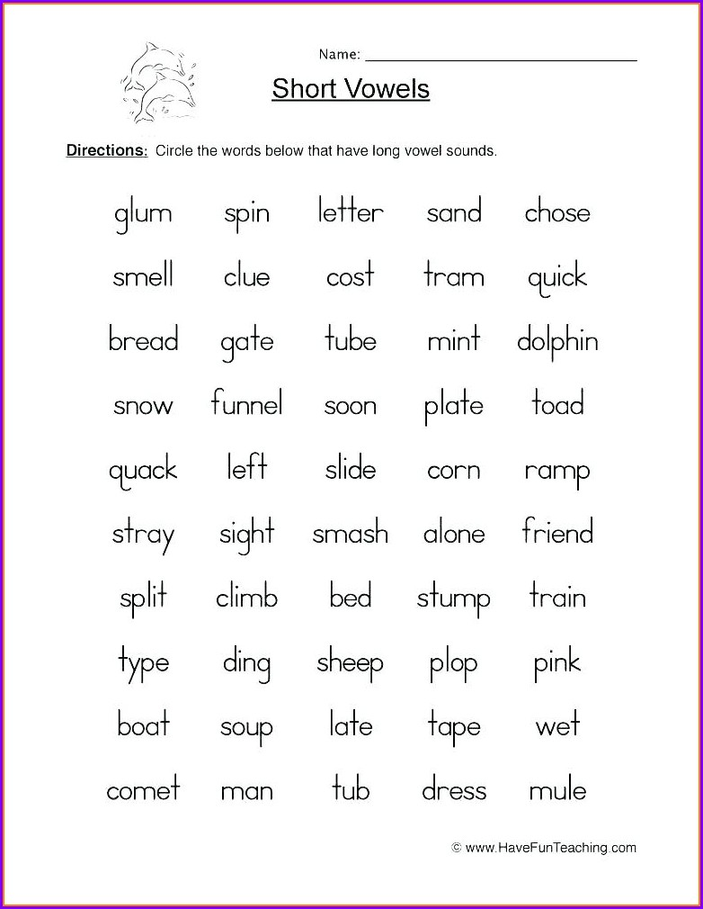 3rd Grade Vowel Worksheets