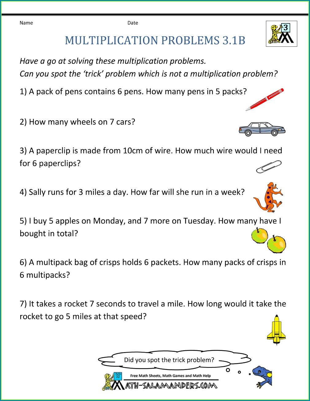 3rd Grade Word Problems Worksheet