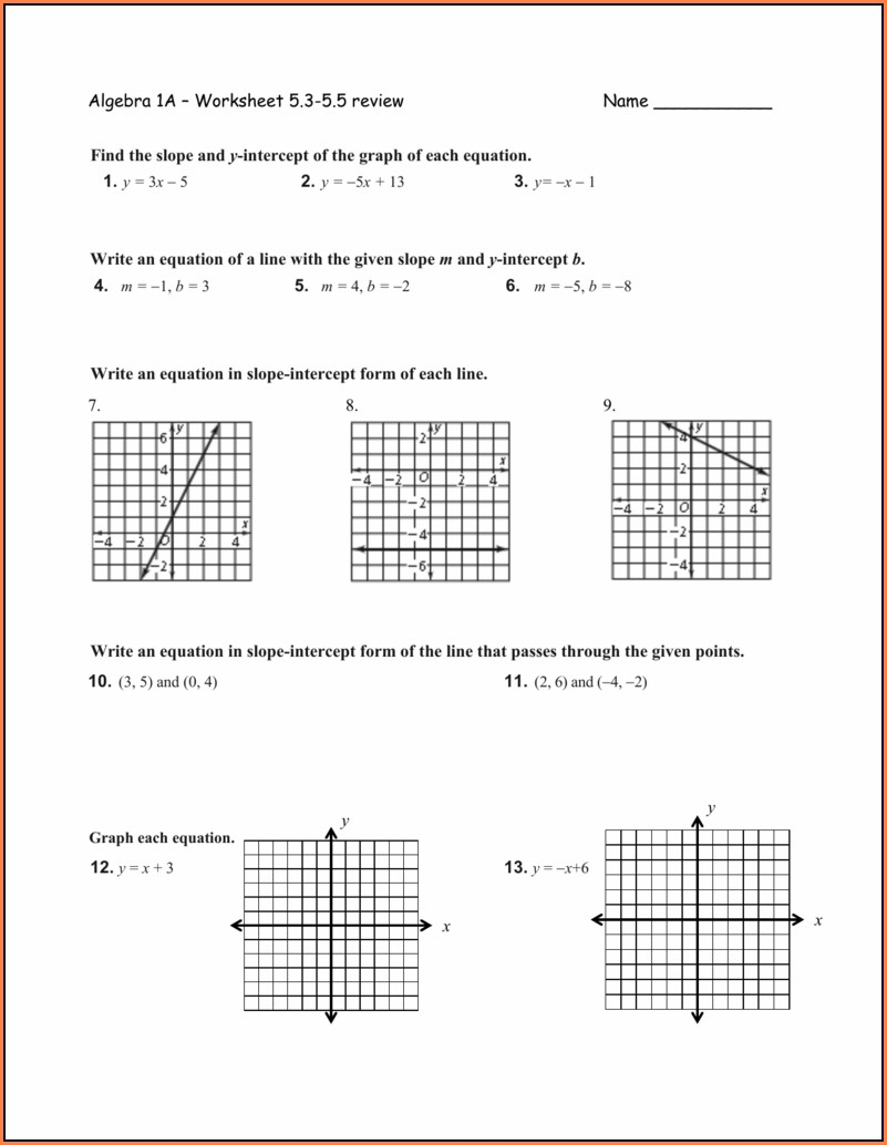 4 2 Writing Equations In Slope Intercept Form Worksheet Answers