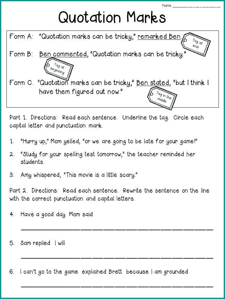 4th Grade Capitalization And Punctuation Worksheets