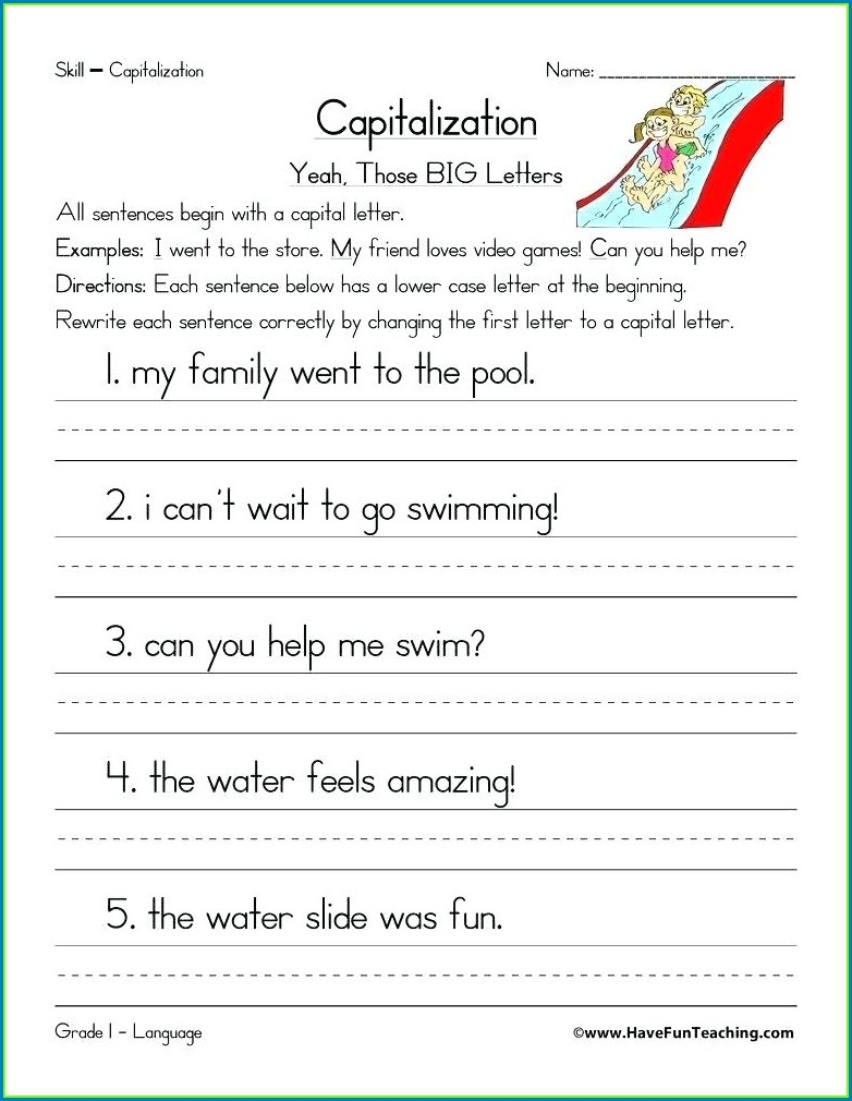 4th Grade Capitalization Titles Worksheet