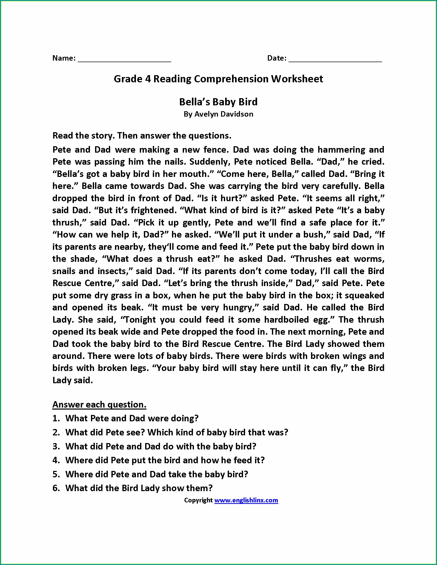 4th Grade English Comprehension Worksheets For Grade 3 Pdf