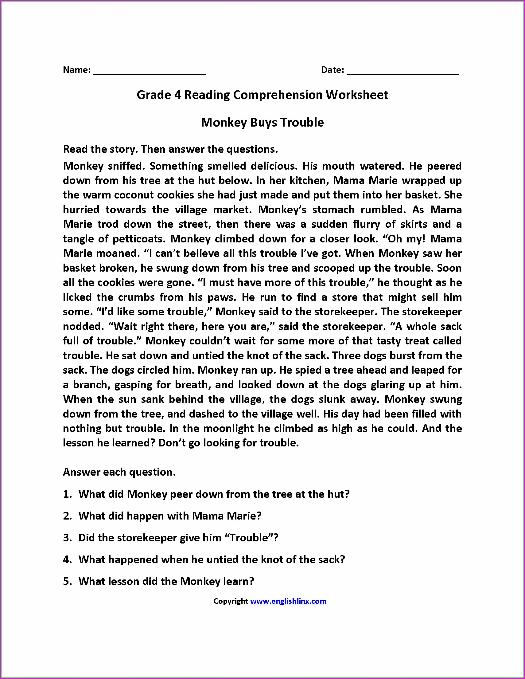 4th Grade English Worksheet For Kids