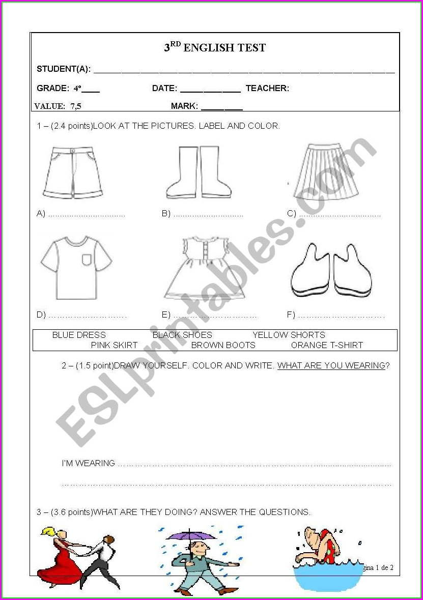 4th Grade English Worksheet