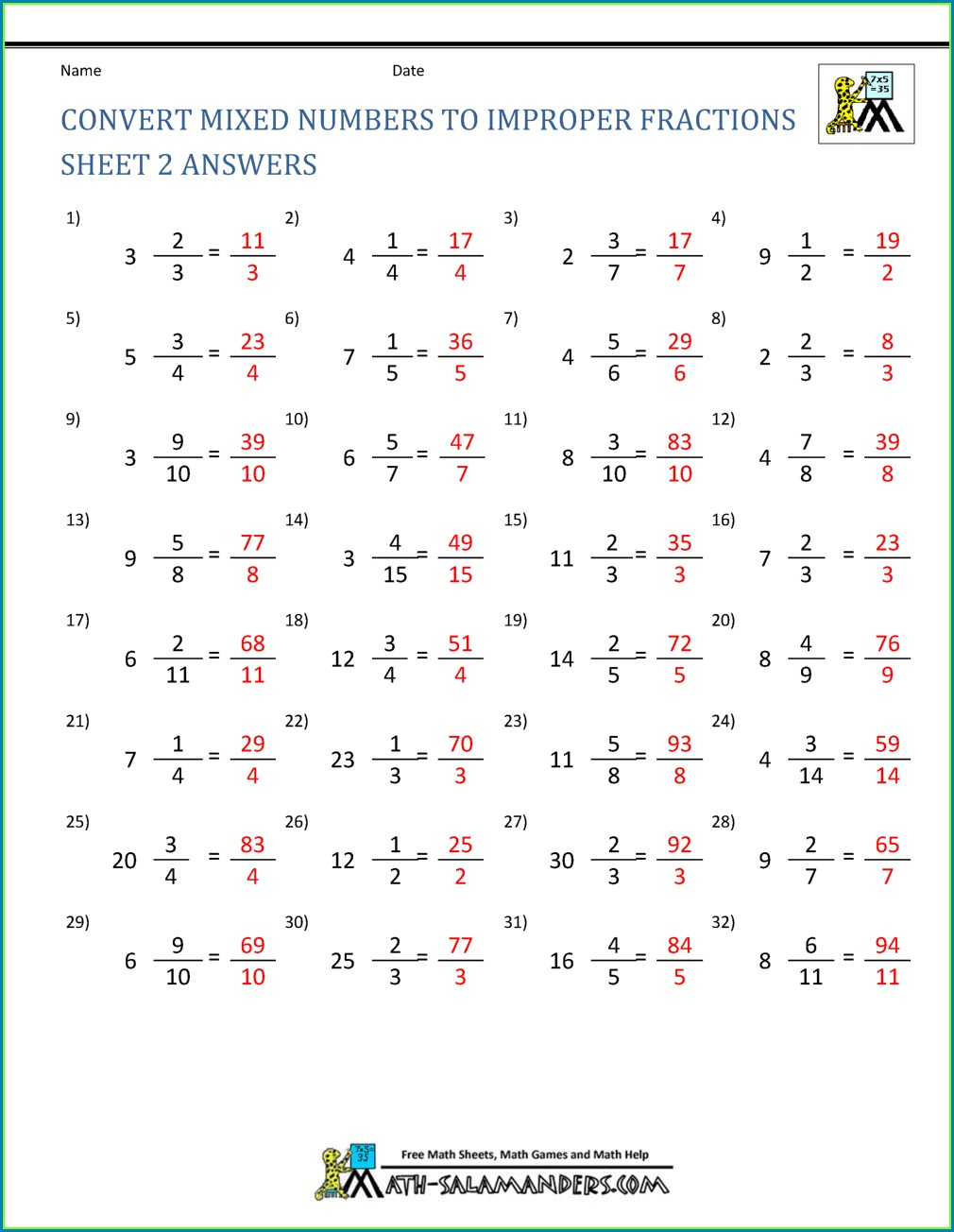 4th Grade Fractions And Mixed Numbers Worksheet