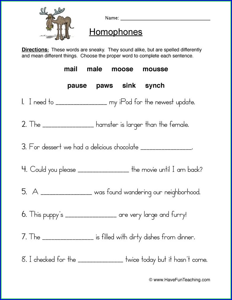 4th Grade Homophones Worksheet Grade 4