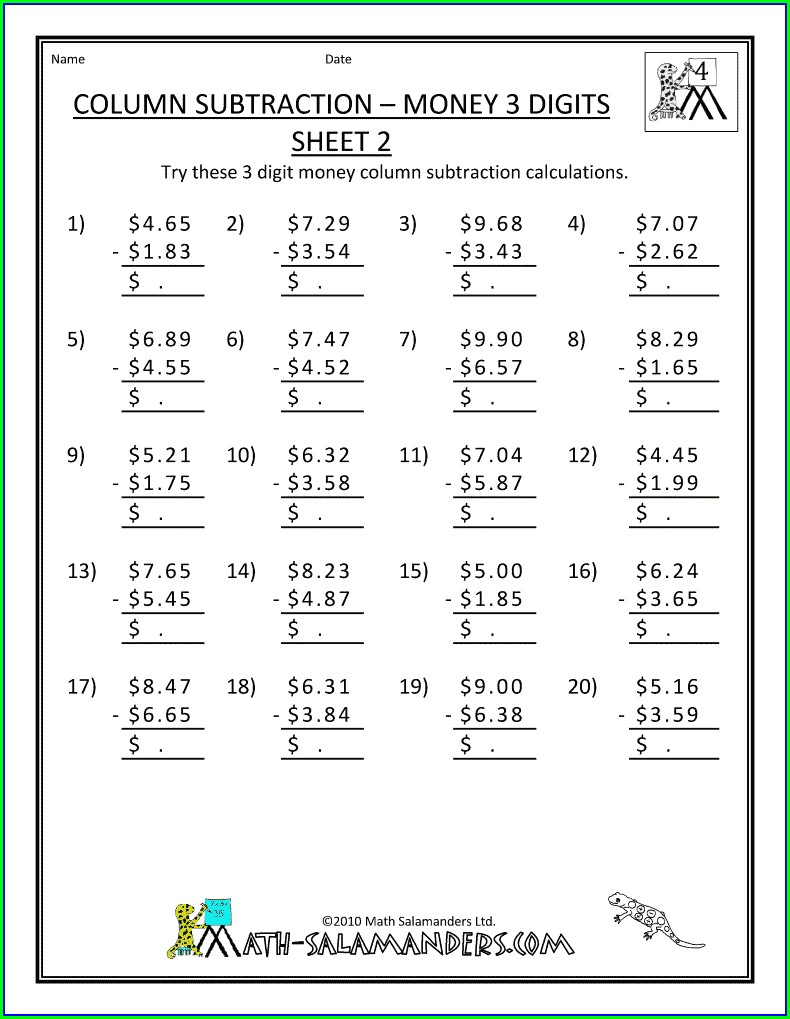 4th Grade Math Worksheets Addition And Subtraction