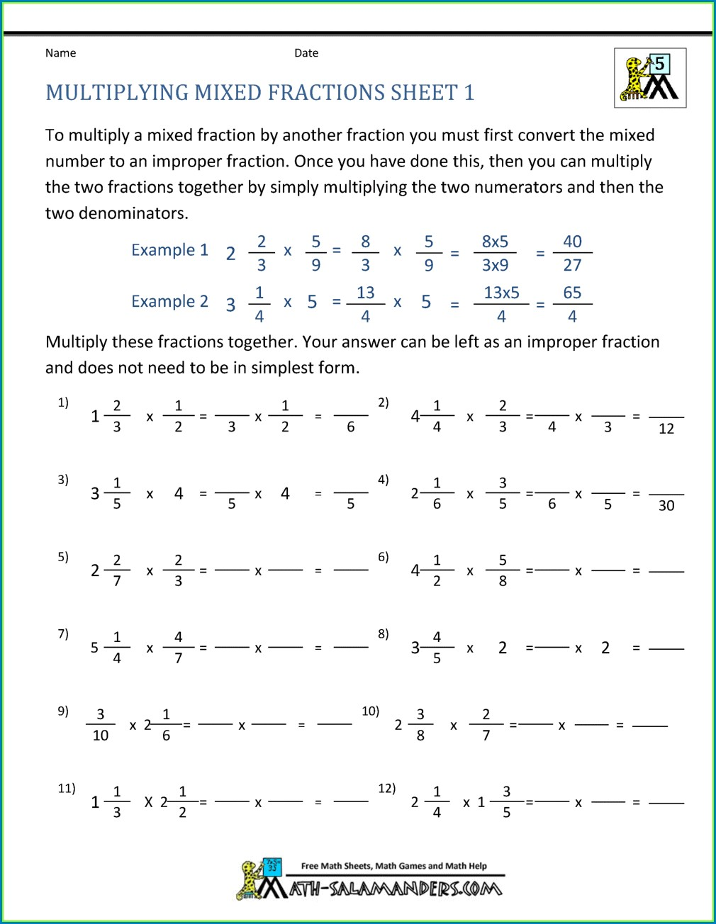 4th Grade Multiplying Mixed Numbers Worksheet