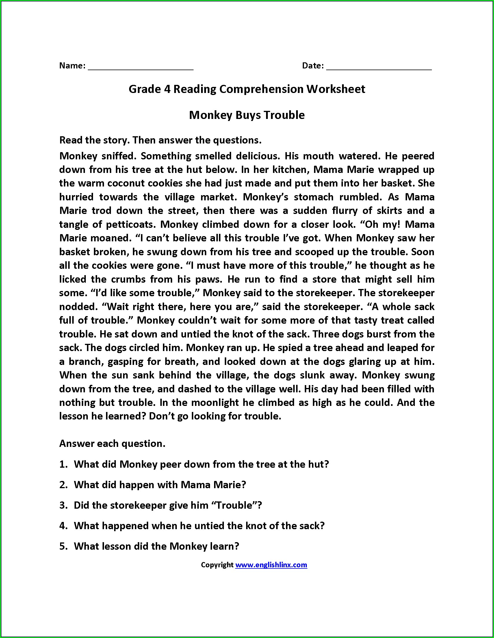 5th Grade 4th Grade Comprehension Worksheets