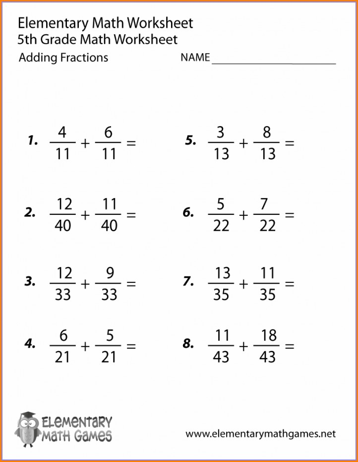 5th Grade Adding And Subtracting Fractions Worksheets