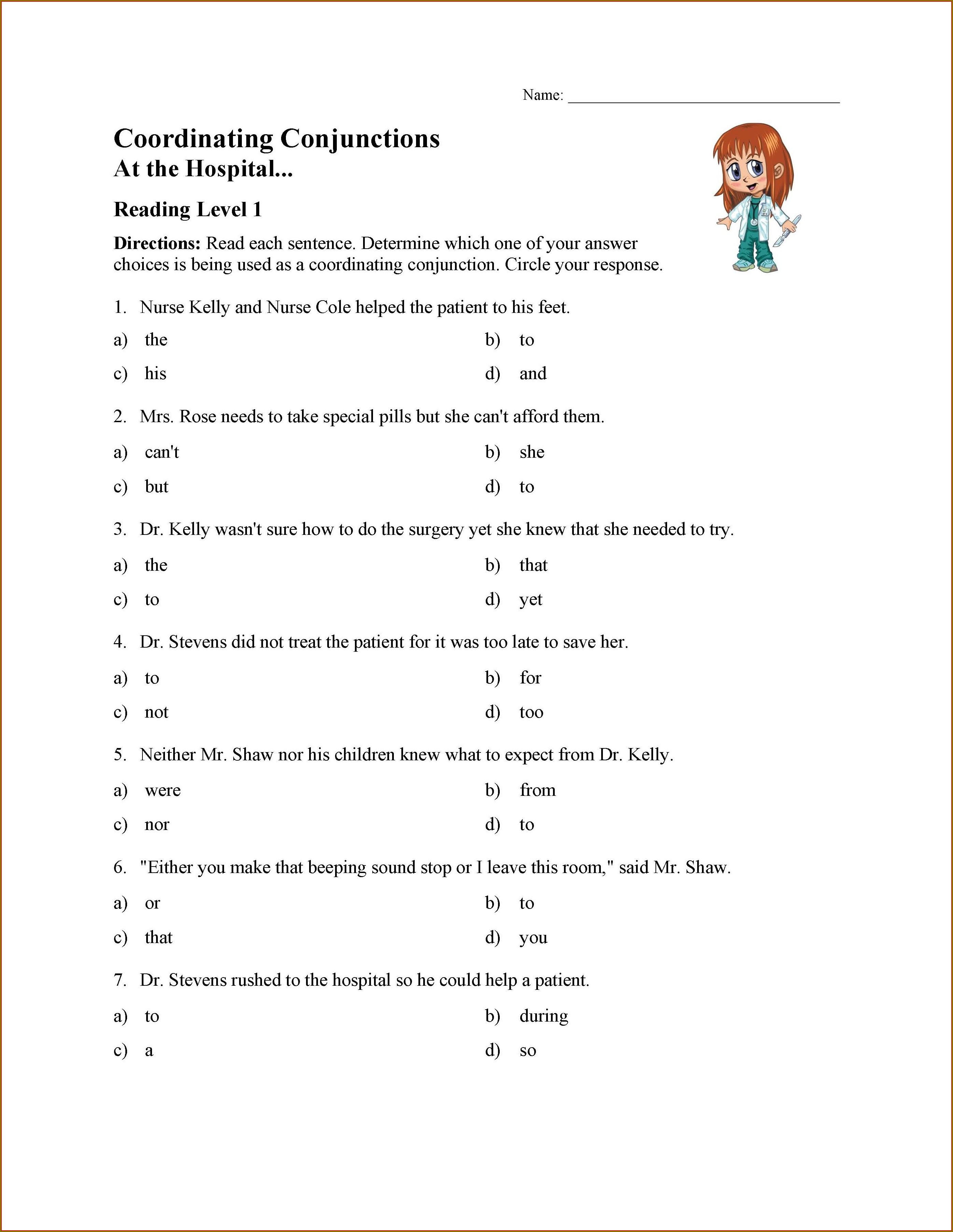 5th Grade Coordinating Conjunctions Worksheet