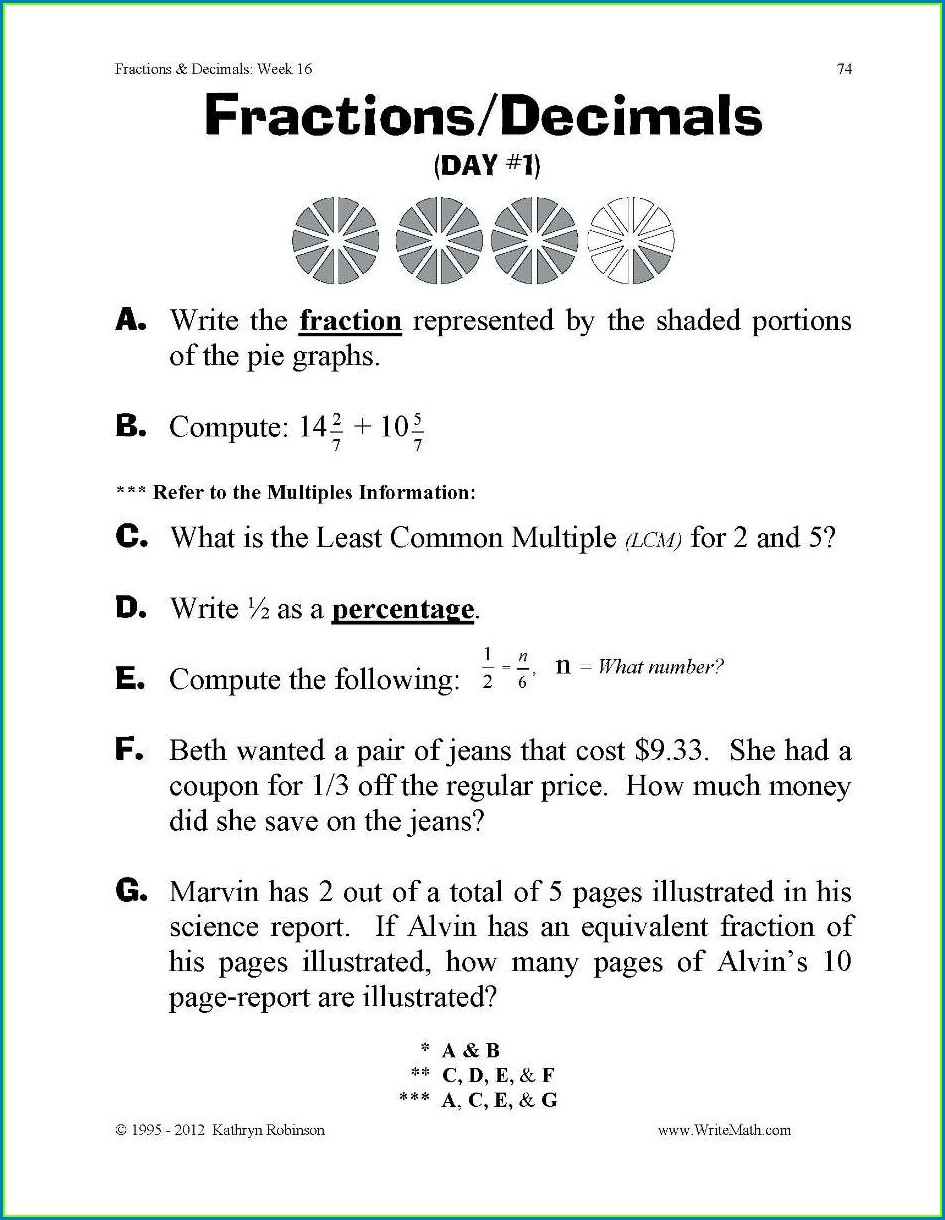5th Grade Math Fraction Word Problems Worksheets Pdf