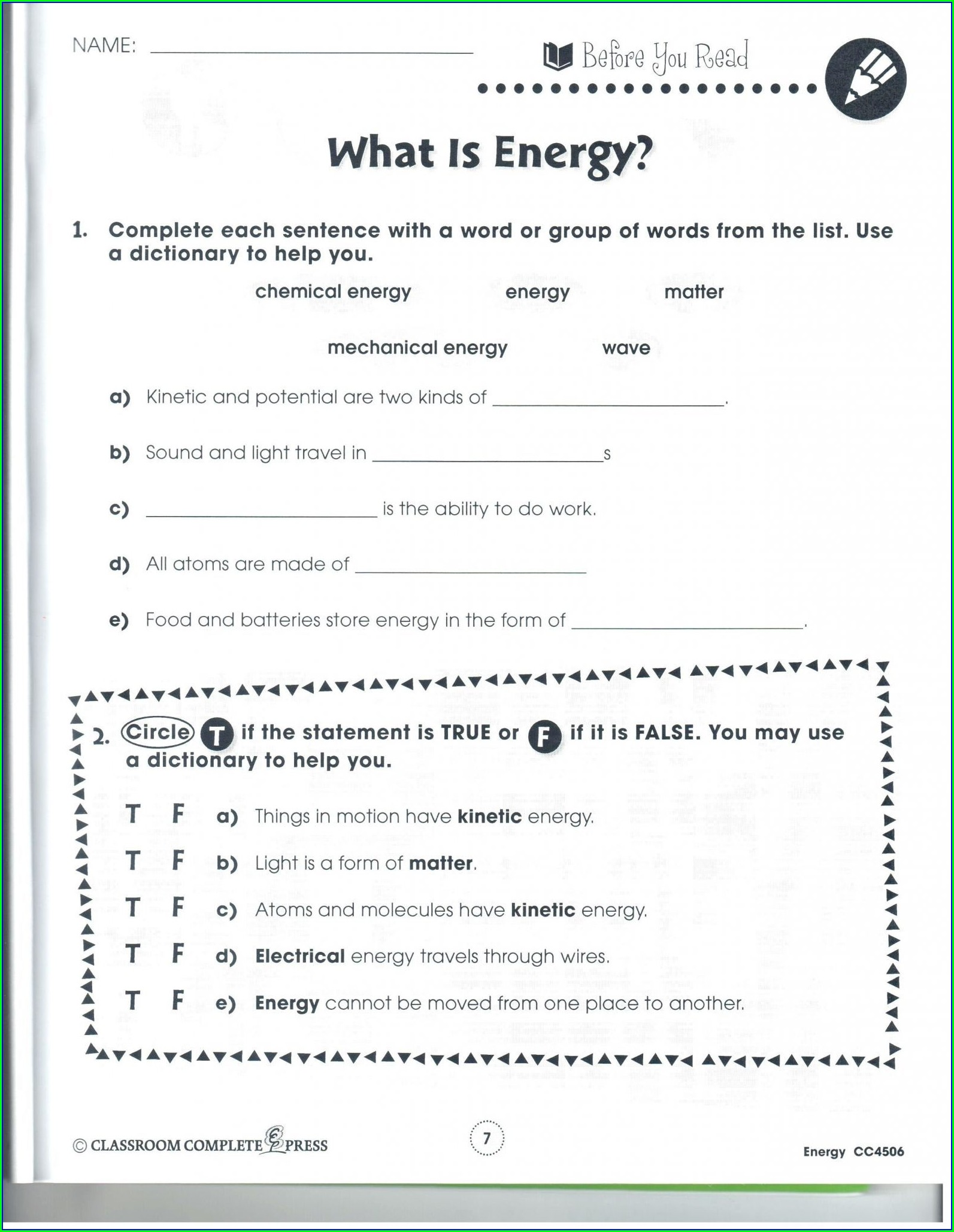 5th Grade Science Worksheets Energy