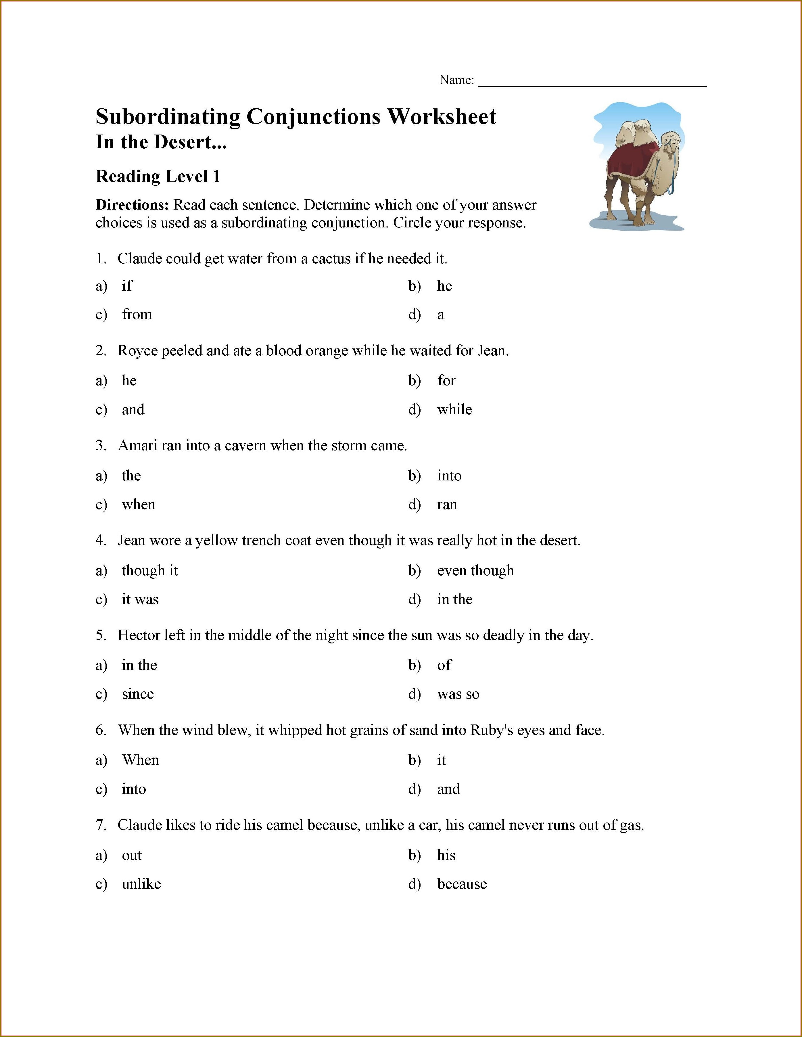5th Grade Subordinating Conjunctions Worksheet