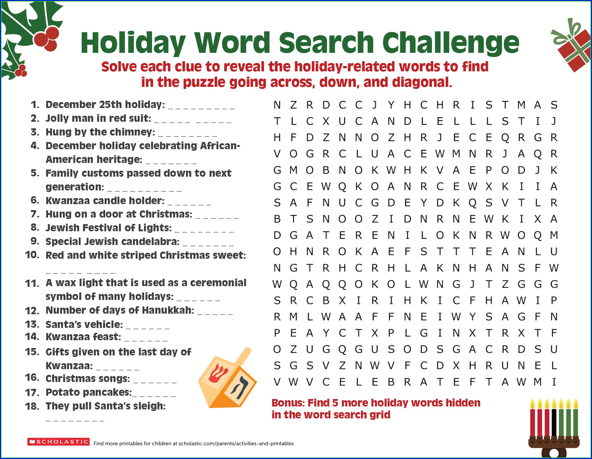 5th Grade Winter Word Search Printable