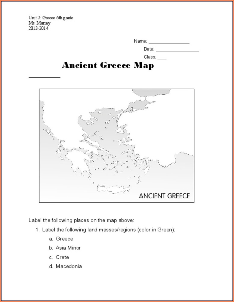 6th Grade Ancient Greece Map Worksheet Answer Key