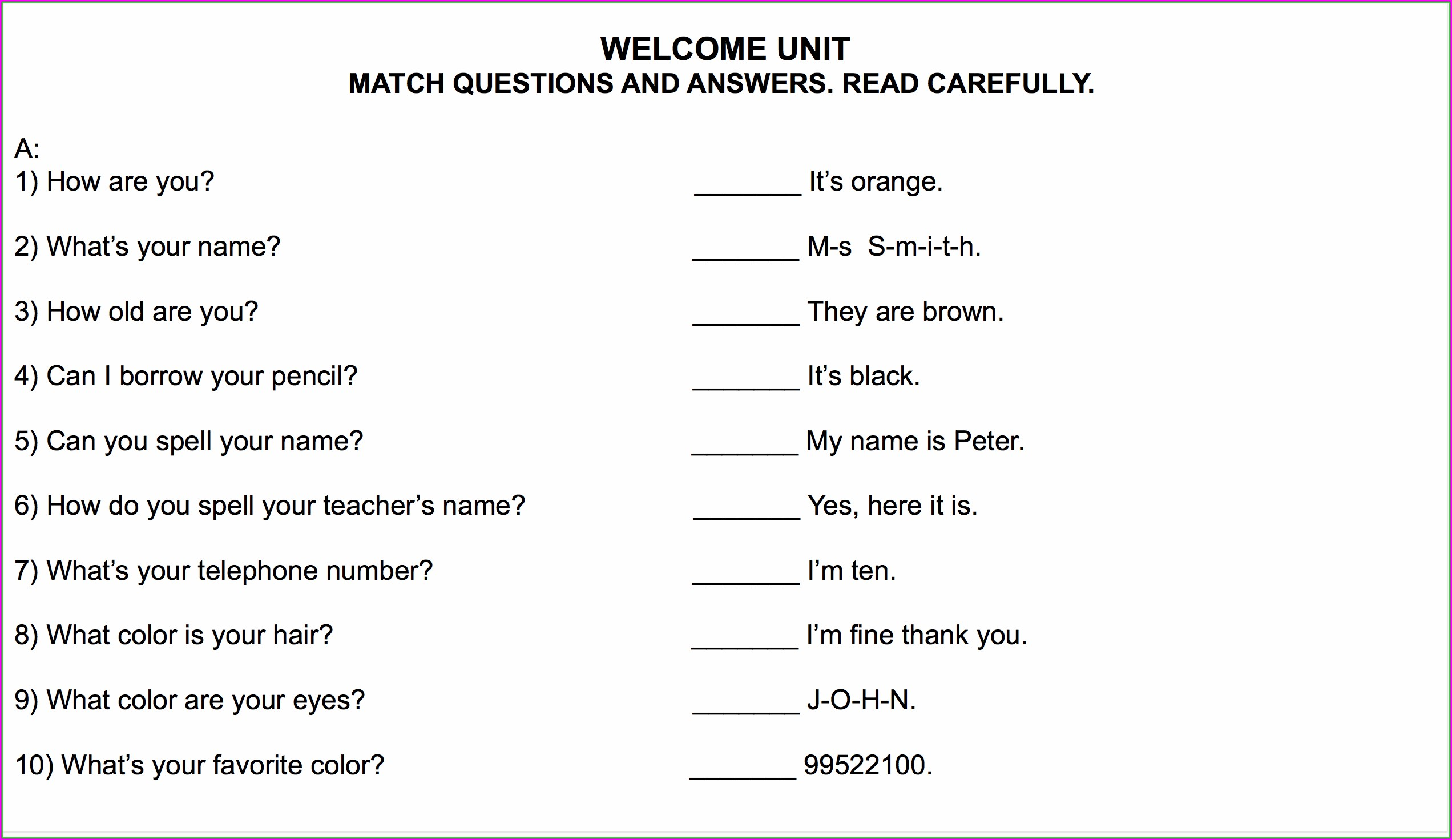 6th Grade English Worksheet