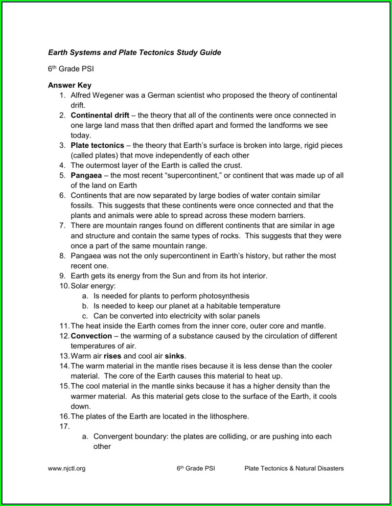 6th Grade Plate Tectonics Review Worksheet