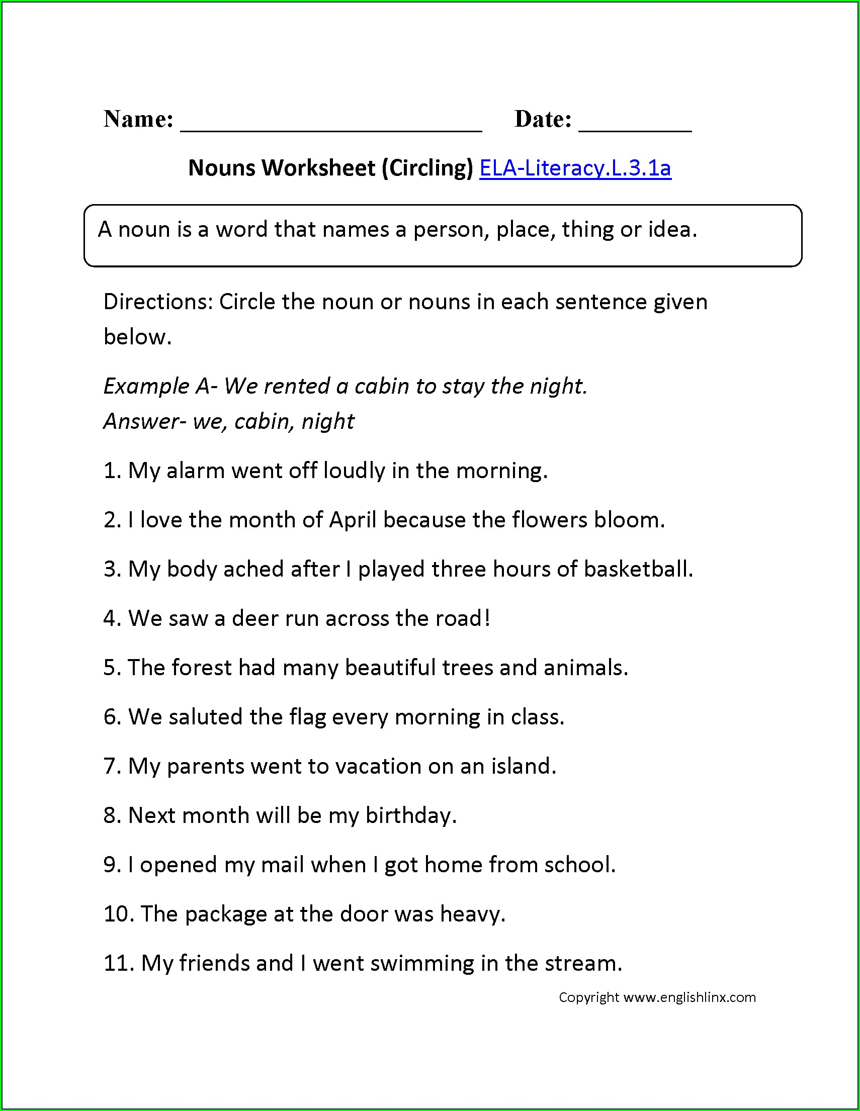 7th Grade Nouns Worksheet For Grade 6