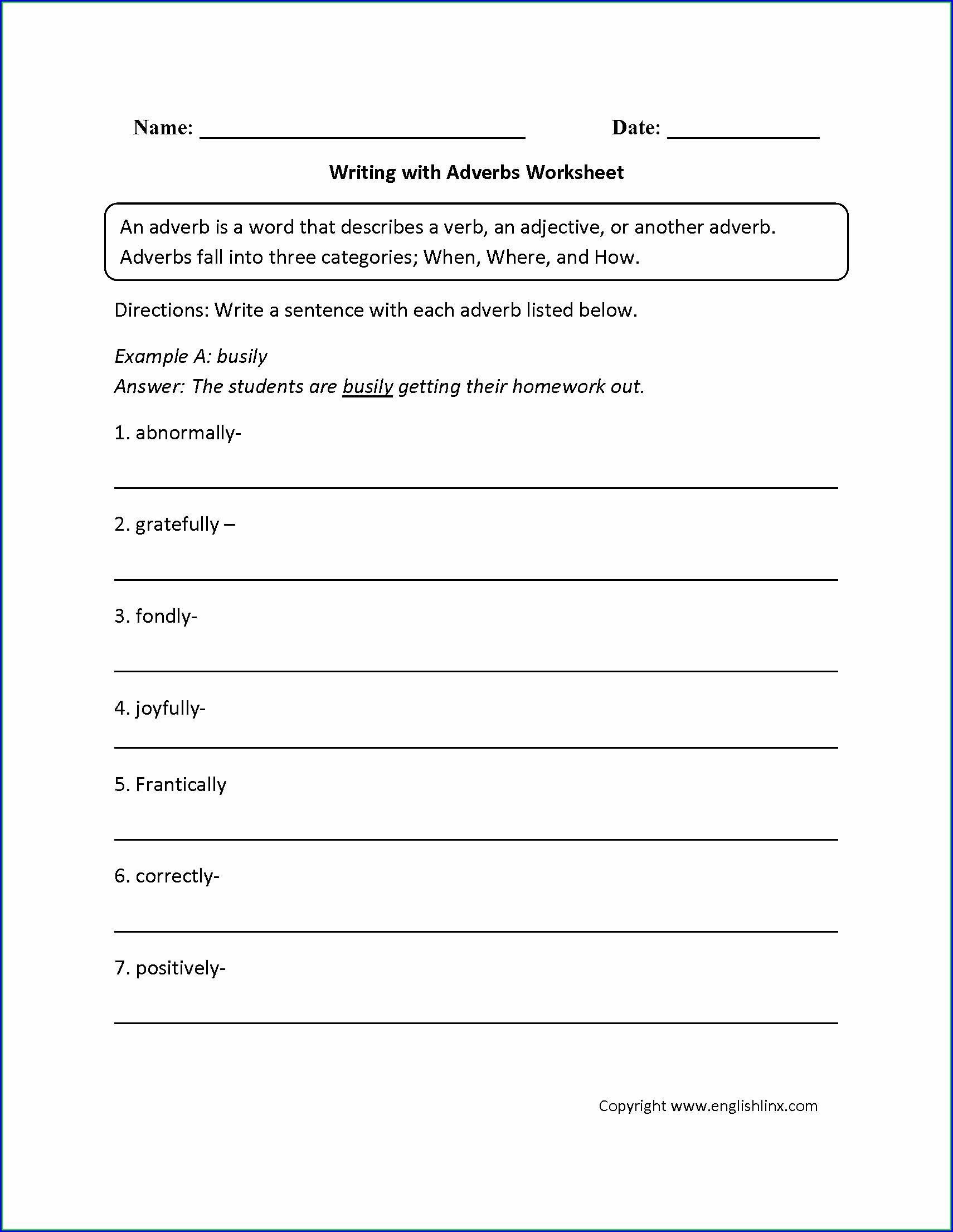 8th Grade Adverb Worksheets Middle School