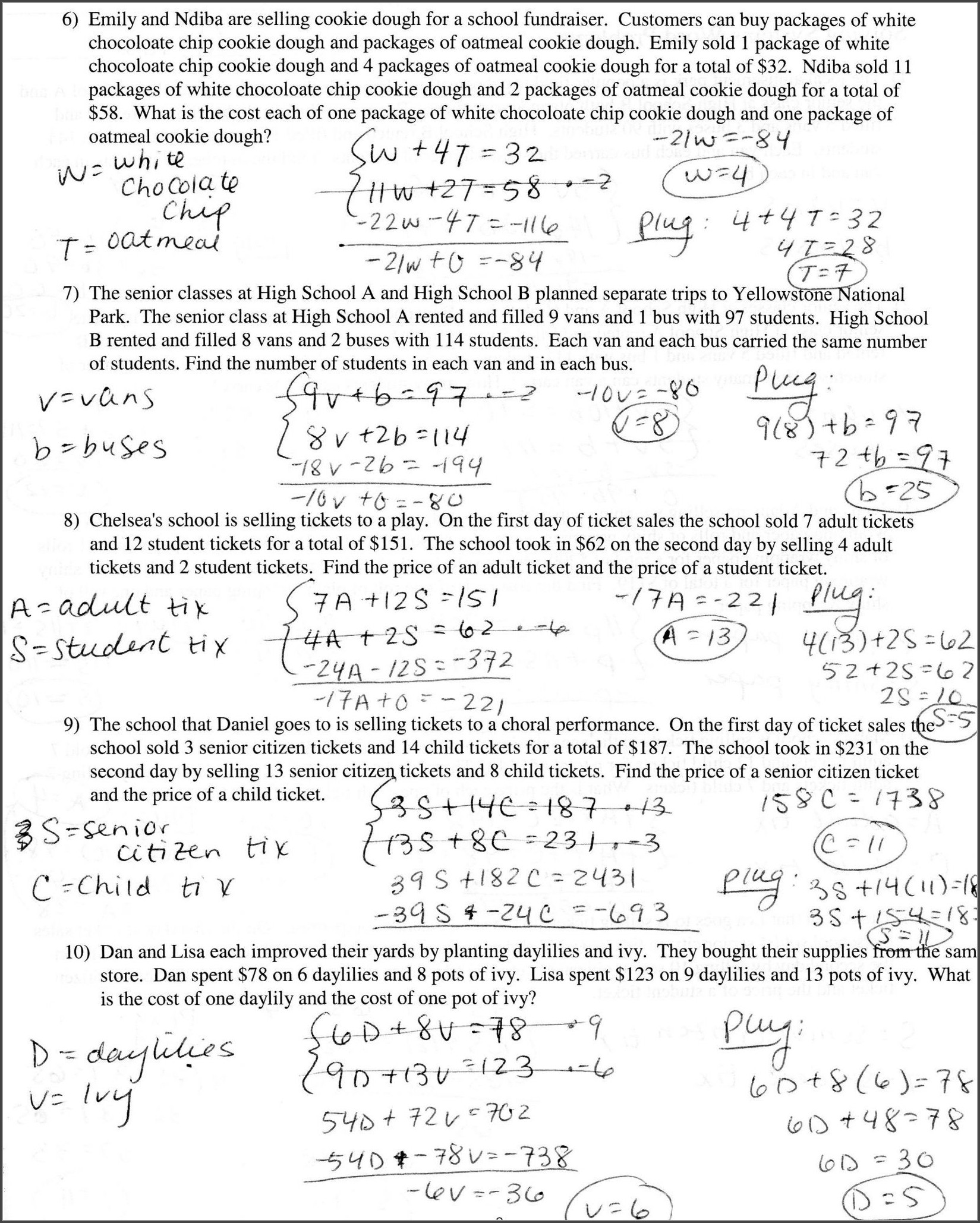 8th Grade Equations Worksheet