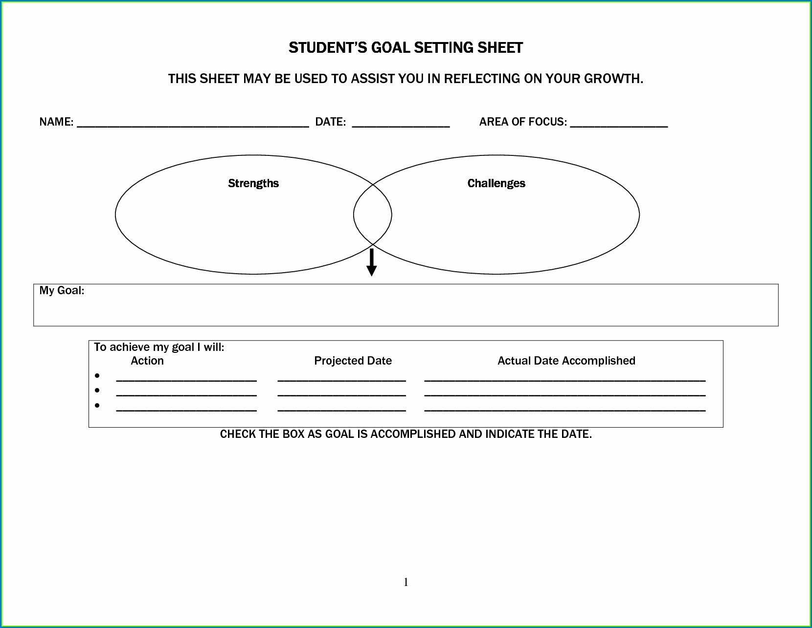 Academic Goal Setting Worksheet For High School Students