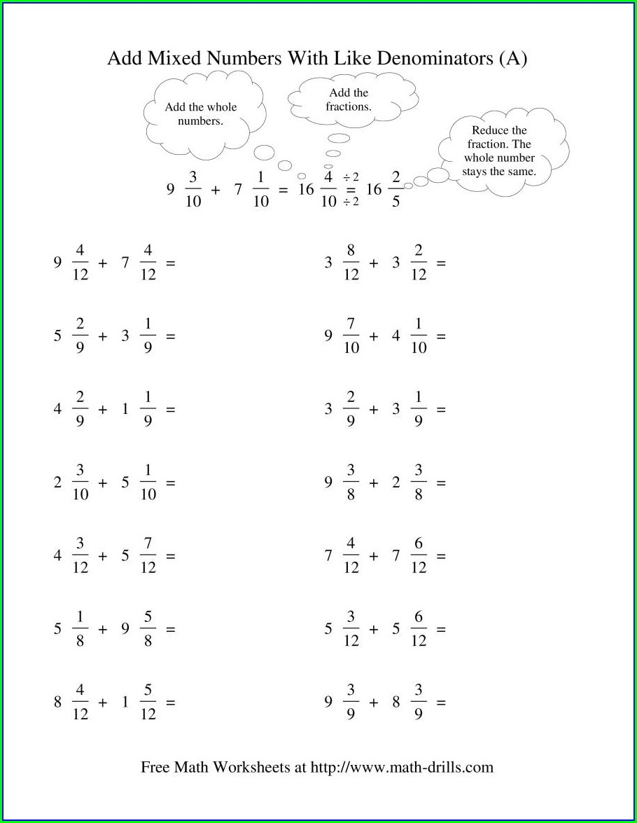 Adding And Subtracting Mixed Numbers With Unlike Denominators Worksheet Pdf