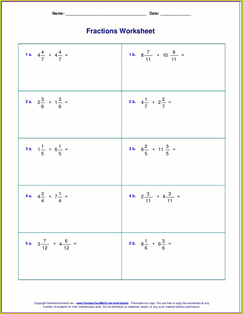 Adding And Subtracting Mixed Numbers Worksheet With Answers