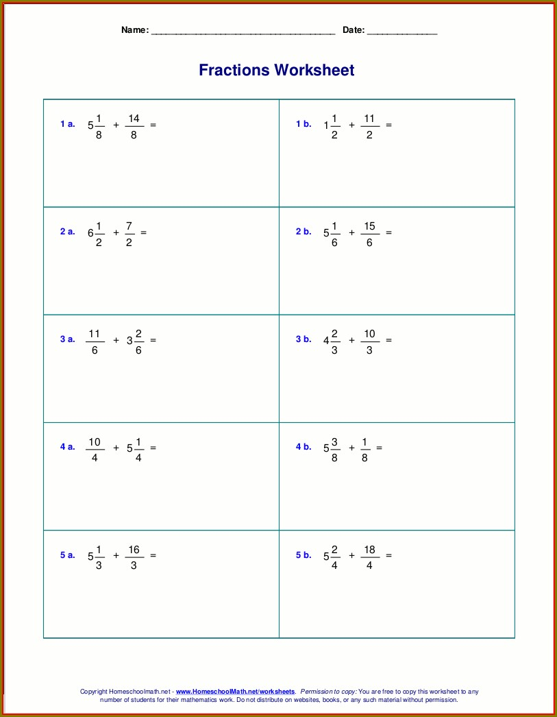 Adding Mixed Numbers Worksheet Year 5