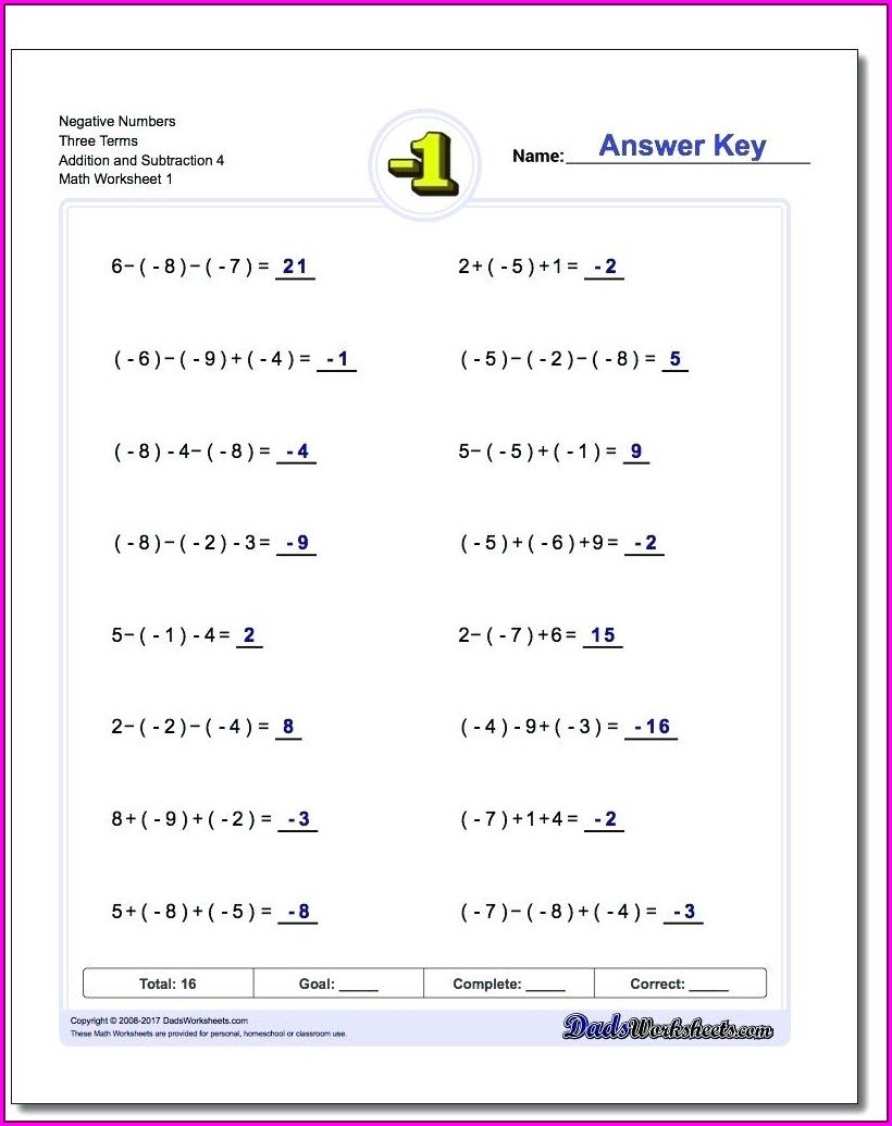 Adding Negative Mixed Numbers Worksheet