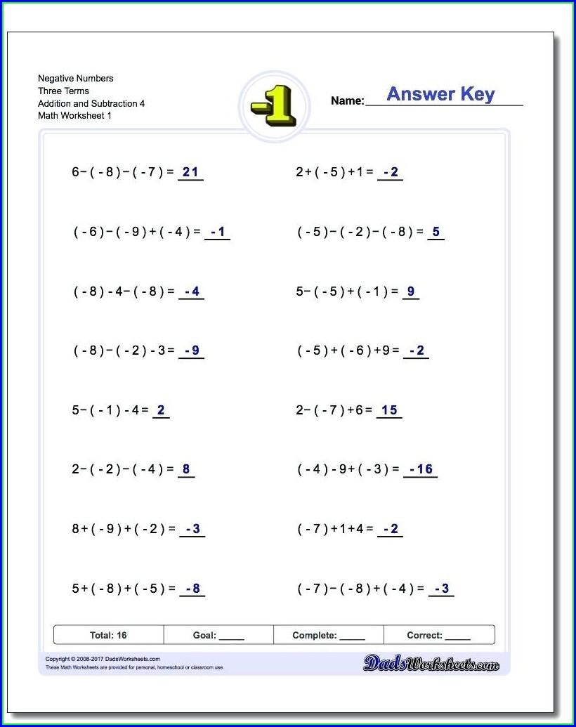Adding To Negative Numbers Worksheet