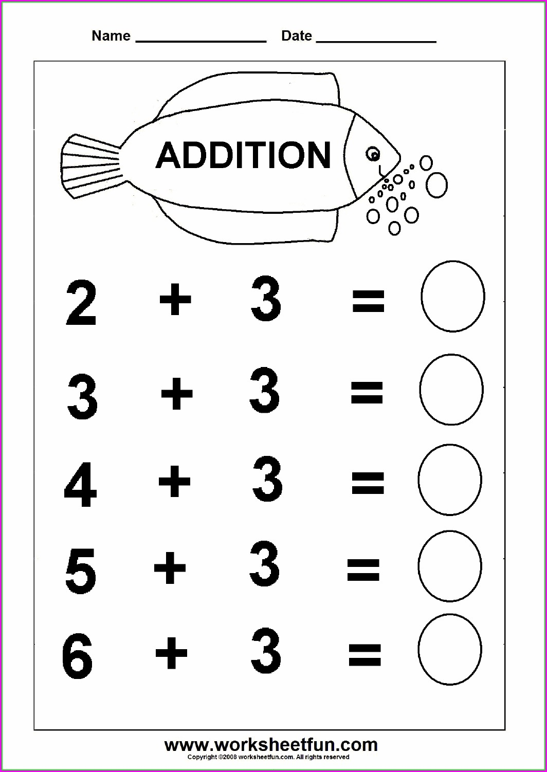 Addition Math Worksheets For Preschoolers