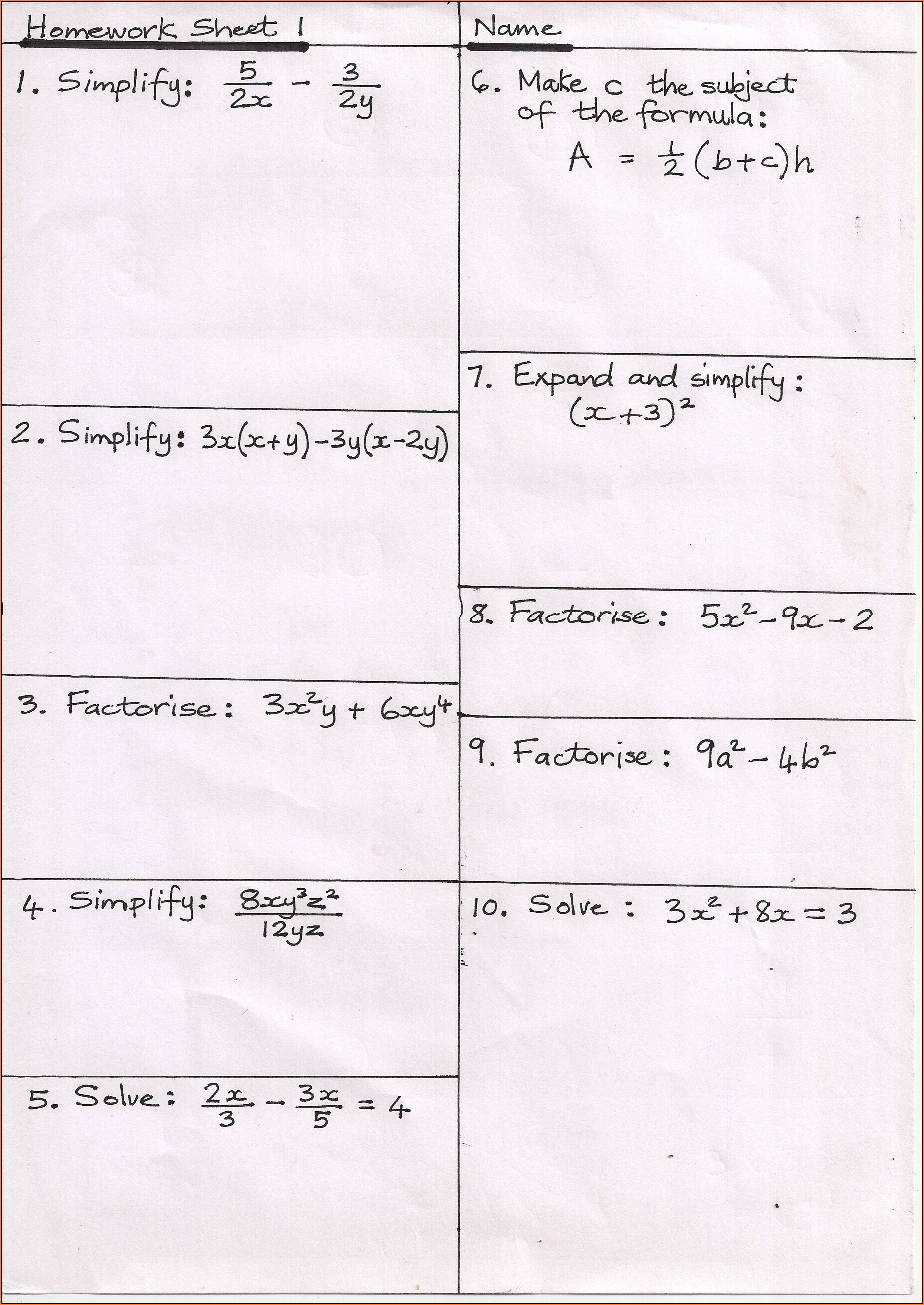 Additional Maths Revision Worksheets