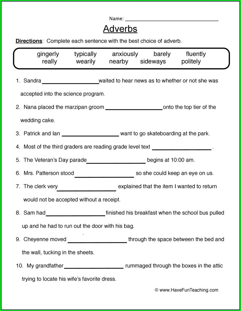 Adverbs Of Time Worksheets For Grade 5