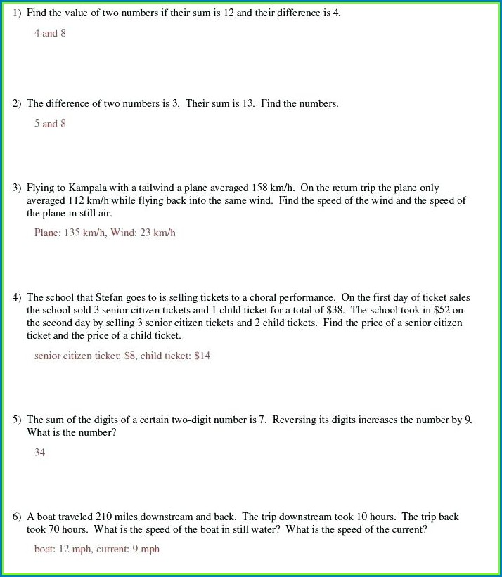 Algebra Linear Equation Word Problems Worksheet