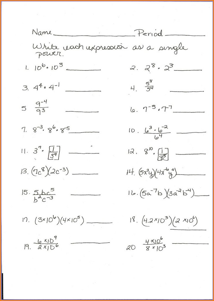 Algebra Worksheet Section 106 Answers