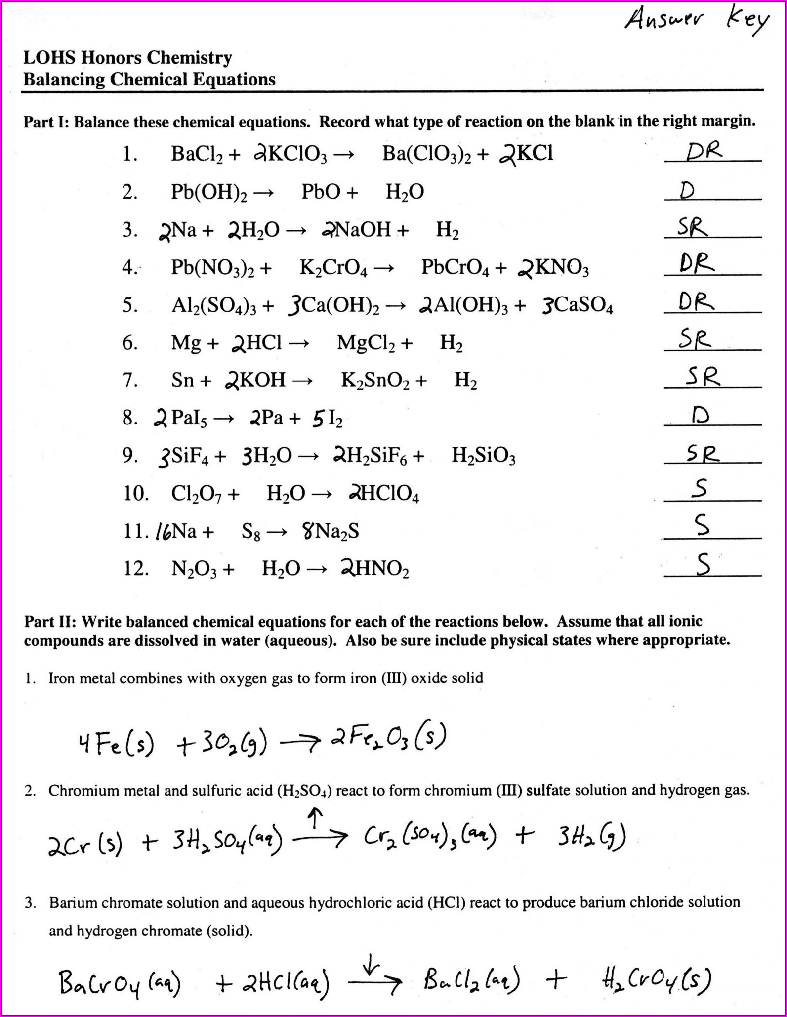 Answer Key To Word Equations Worksheet