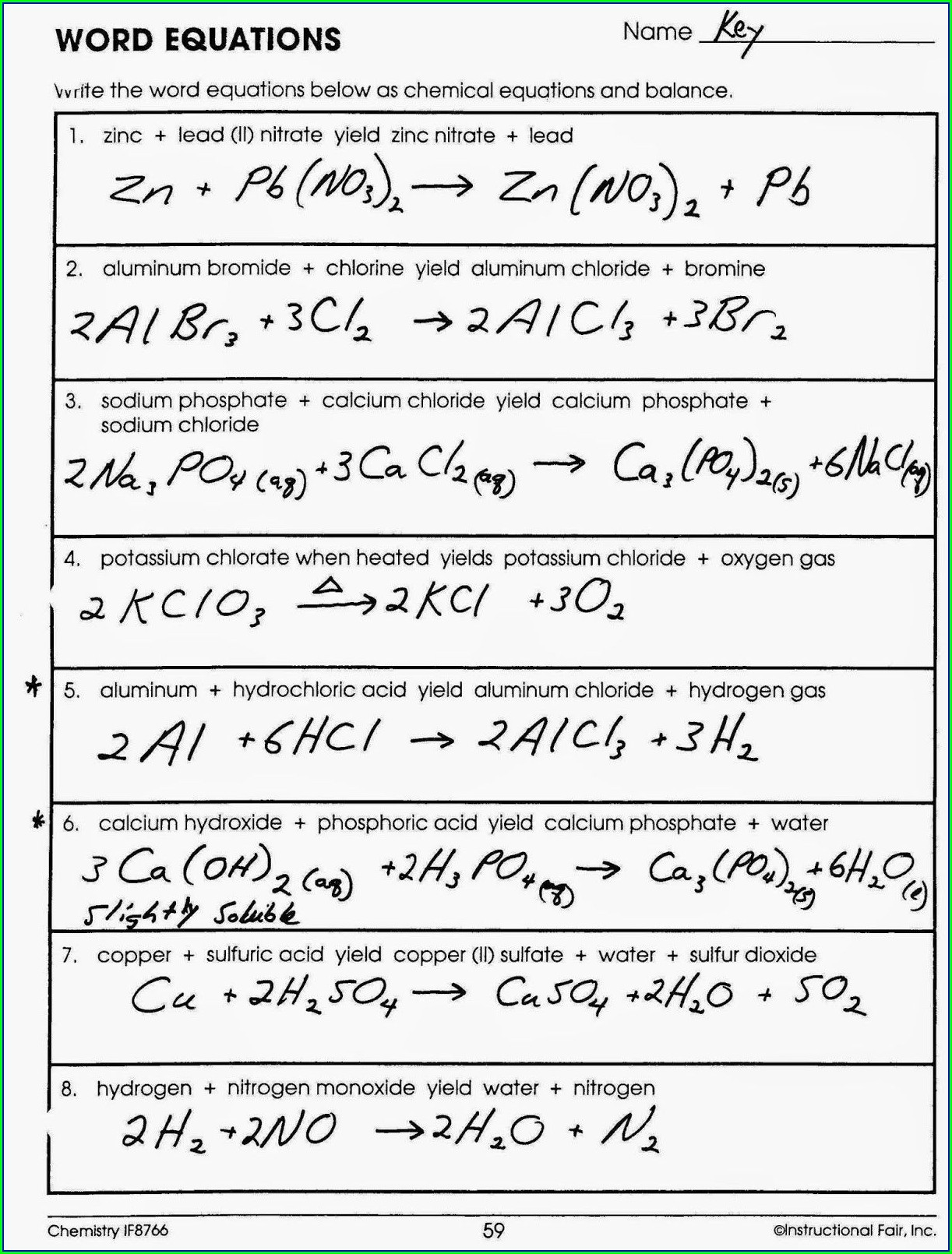 Balancing Chemical Word Equations Practice Worksheet With Answers