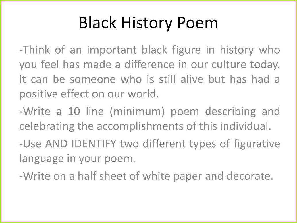 Black History Month Poem Printables