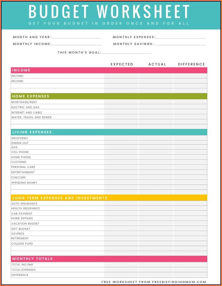 Budget Worksheet Printable Pdf