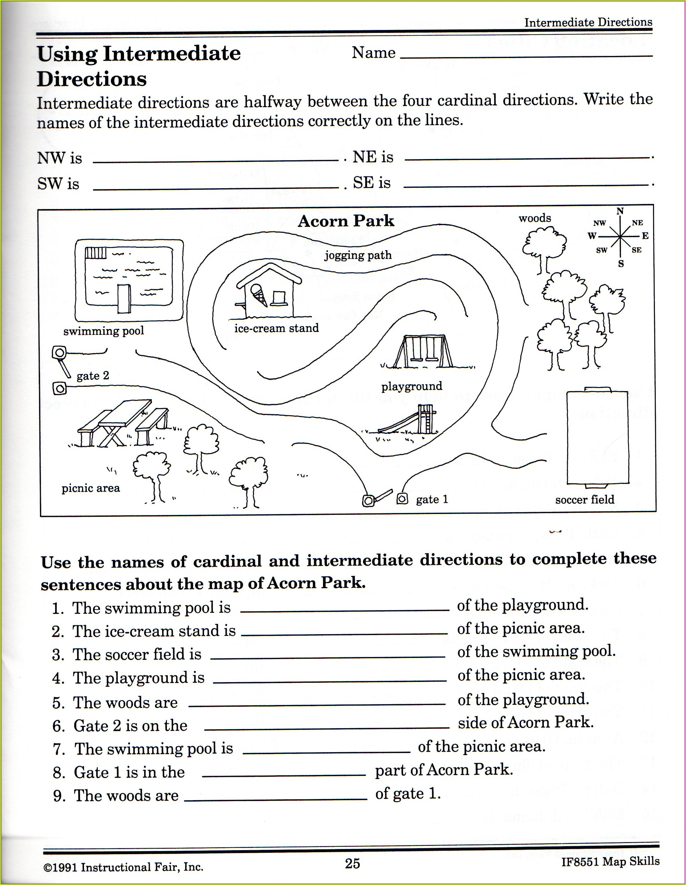 Cardinal And Intermediate Directions Worksheet 4th Grade