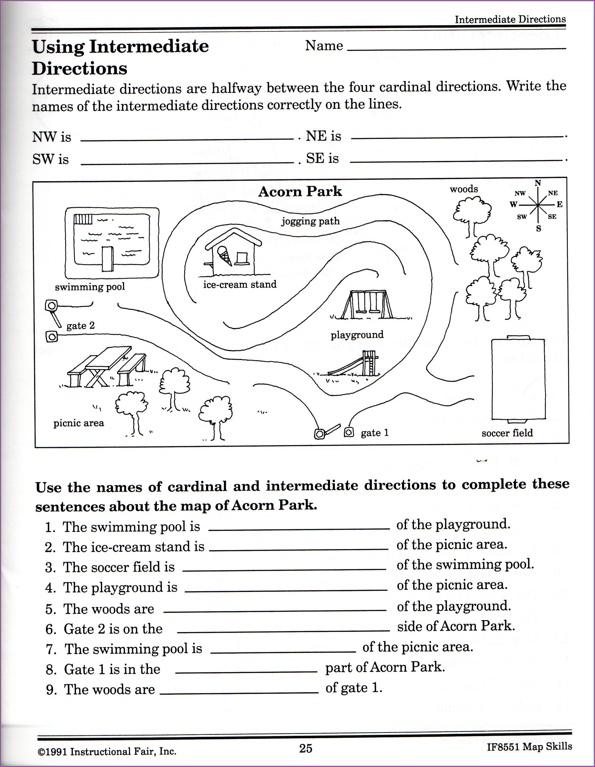 Cardinal And Intermediate Directions Worksheet Free