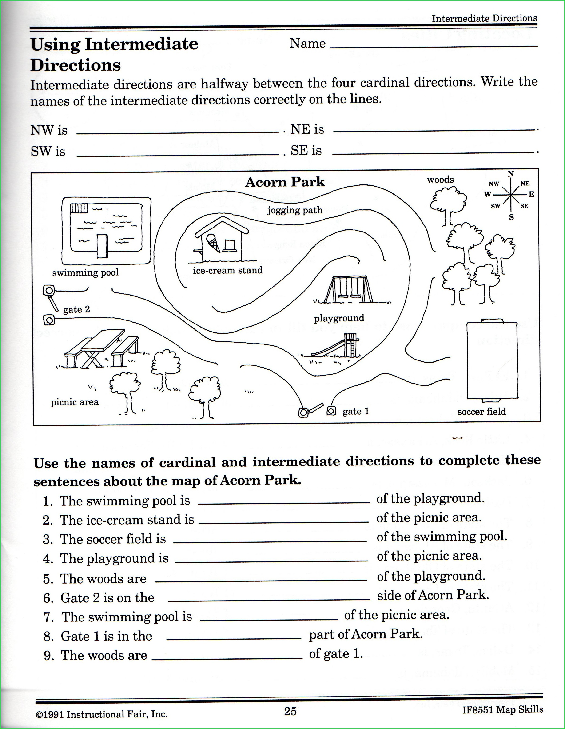 Cardinal Directions Worksheets Middle School