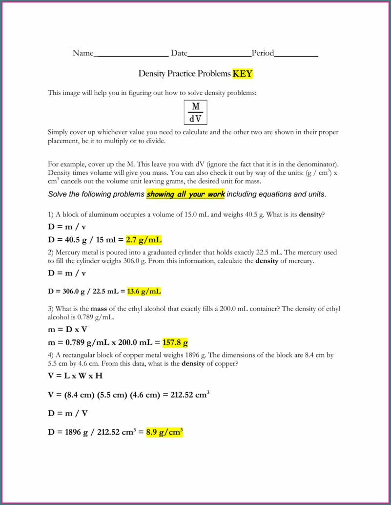Chemistry Density Problems Worksheet Answer Key