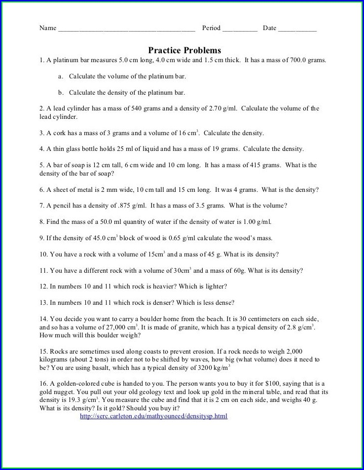 Chemistry Density Problems Worksheet Answers
