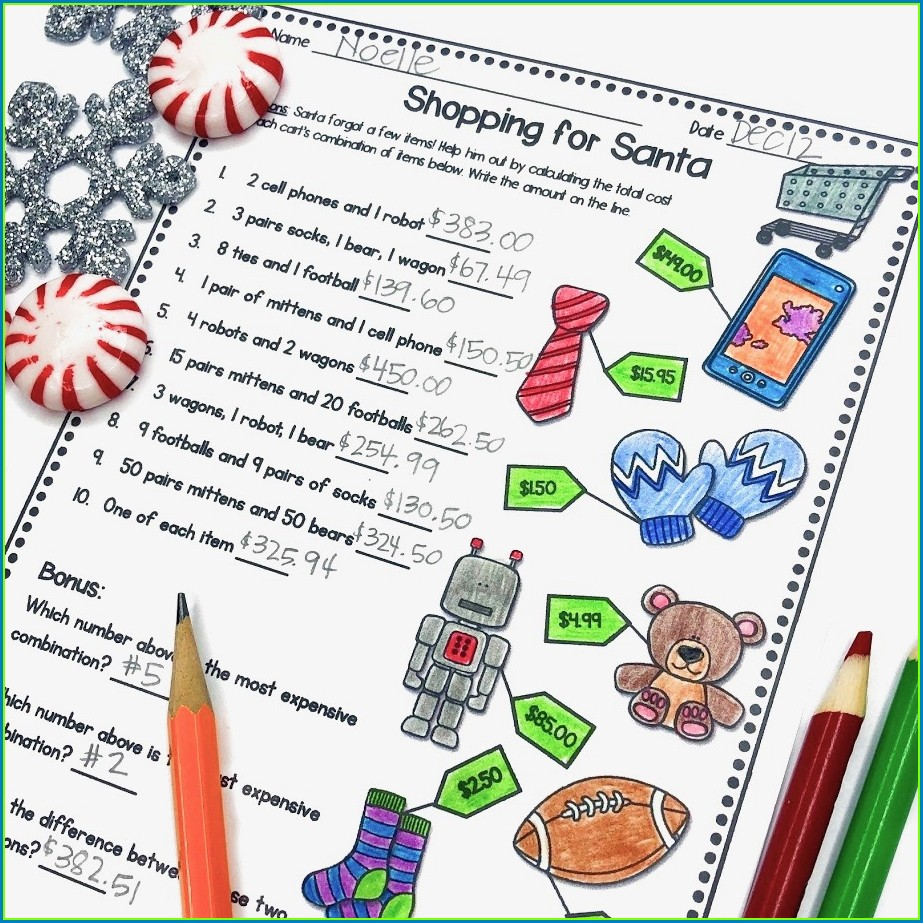 Christmas Math Shopping Worksheet