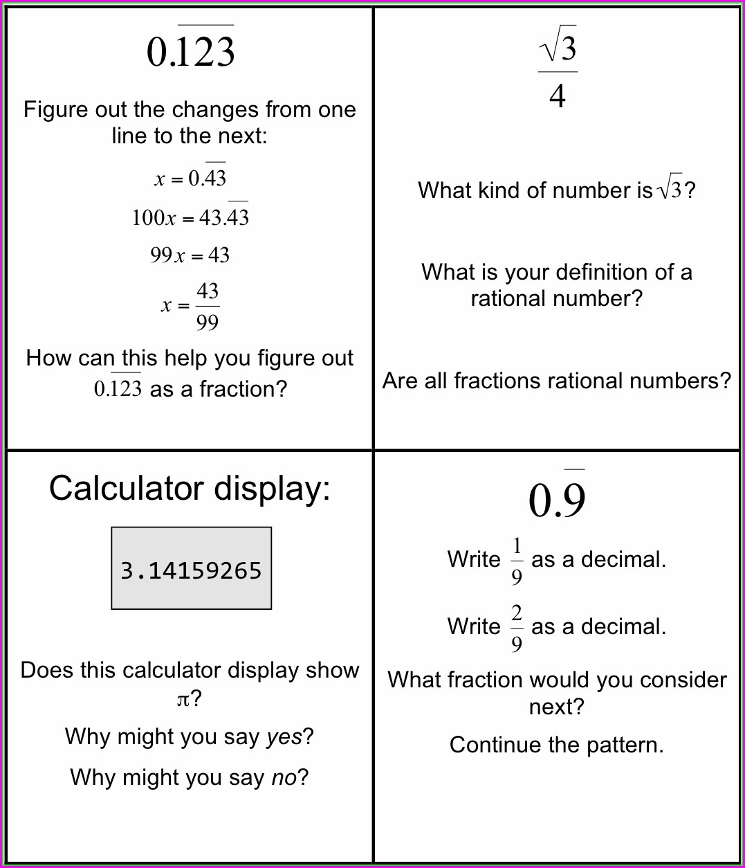 Classifying Rational And Irrational Numbers Worksheet Pdf