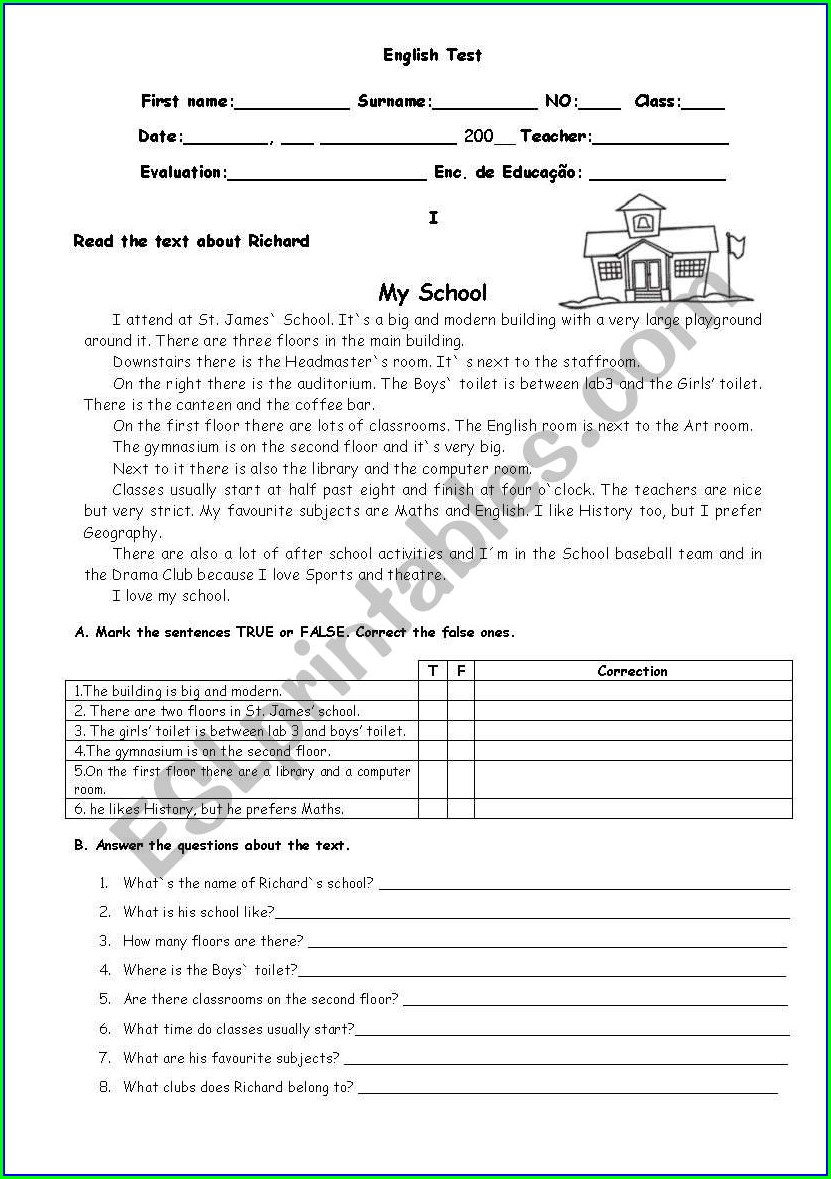 Classroom My School Worksheet For Grade 1