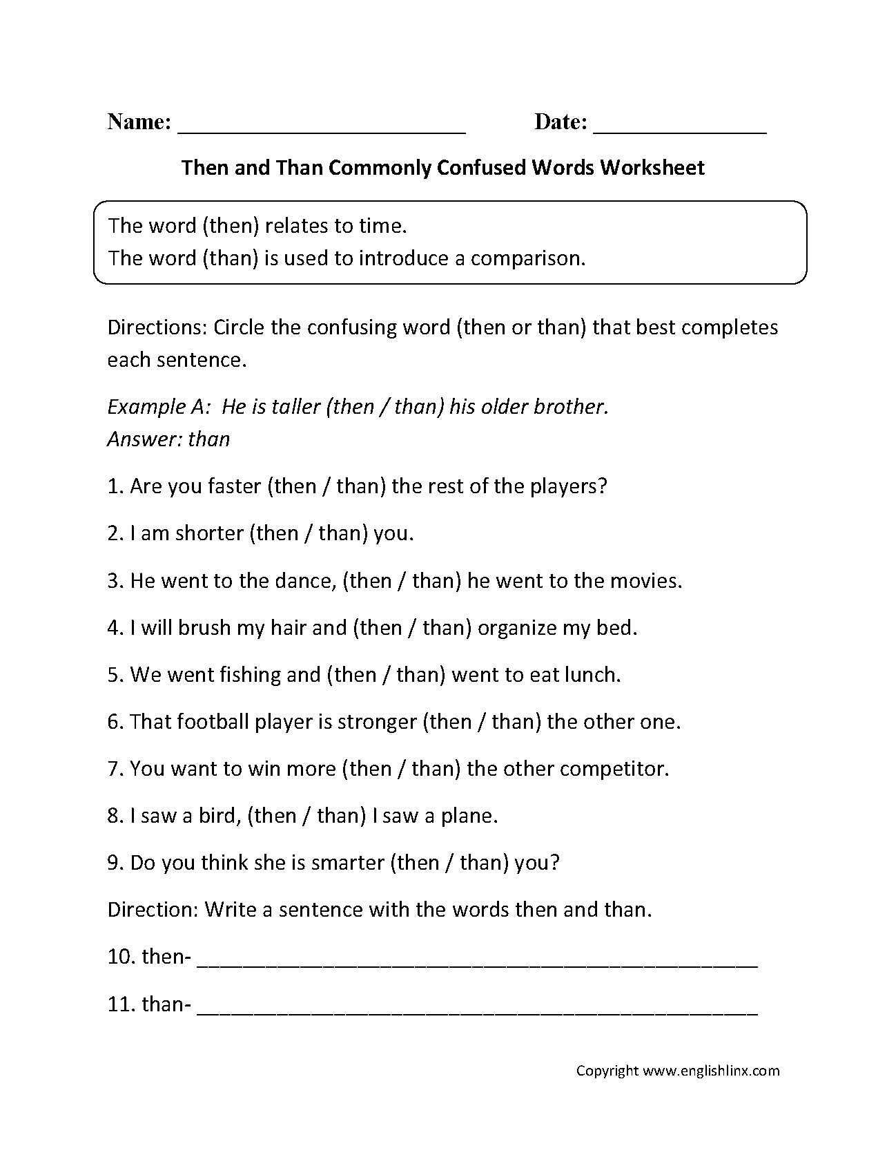 Commonly Confused Words Quiz Worksheet