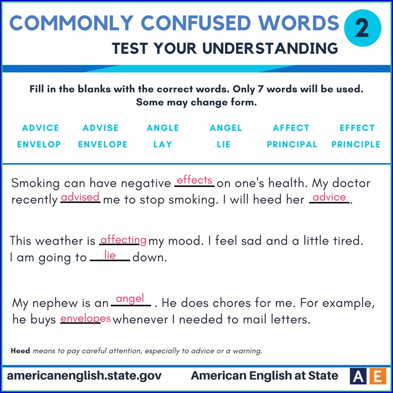 Commonly Confused Words Worksheet High School Pdf